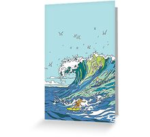 Surfing on a wave Greeting Card