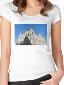 Silver City Architecture - Aberdeen Granite Facade with a Whimsical Tower Women's Fitted Scoop T-Shirt