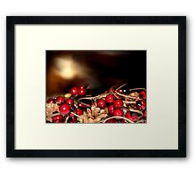 Cranberry Garland with Pinecone Christmas Design Framed Print