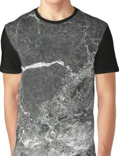 Grey Marble Print Graphic T-Shirt