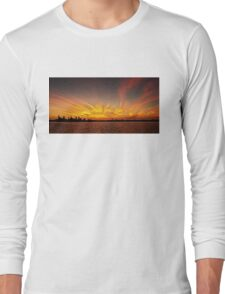 Gold Fingers - Ocean Sunrise with Water Reflections. Long Sleeve T-Shirt