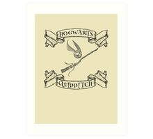 Hogwarts Quidditch with Snitch and Quidditch Broom Art Print