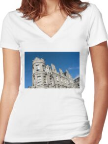 Silver City Architecture - Crenellated Castle Style Facade in Aberdeen  Women's Fitted V-Neck T-Shirt