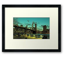 Brooklyn Bridge and Manhattan Framed Print