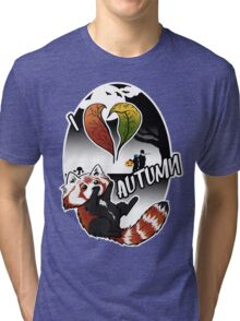 I Love Autumn - Red Panda Design Tri-blend T-Shirt