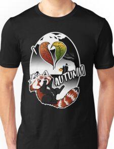 I Love Autumn - Red Panda Design Unisex T-Shirt