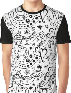 Hearts and Flowers Art Doodles Graphic T-Shirt