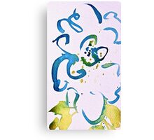 Free Flowing Floral Blue Green Yellow Canvas Print