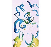 Free Flowing Floral Blue Green Yellow Photographic Print