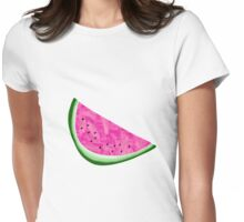Watermelon Crush on Yellow and White Stripes Womens Fitted T-Shirt