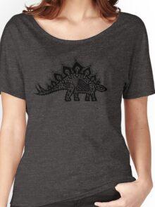 Stegosaurus Lace - Black / Grey Women's Relaxed Fit T-Shirt