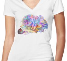 Rose Colorful Brush Women's Fitted V-Neck T-Shirt