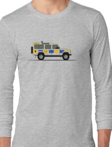 A Graphical Interpretation of the Defender 110 Station Wagon Police Car Long Sleeve T-Shirt