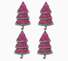 Aussie Xmas Design on Yellow #1 Watermelon Tree with Presents One Piece - Short Sleeve