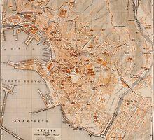 Vintage Map of Genoa Italy (1906) by BravuraMedia