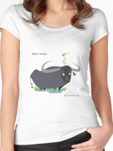 Asiatic Water Buffalo Caricature Women's Fitted Scoop T-Shirt