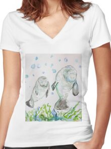 Mother Manatee and baby by Liz H Lovell Women's Fitted V-Neck T-Shirt