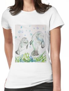 Mother Manatee and baby by Liz H Lovell Womens Fitted T-Shirt
