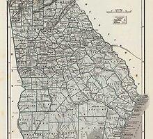 Vintage Map of Georgia (1845)  by BravuraMedia