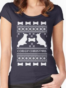 Christmas sweater - corgi christmas green Women's Fitted Scoop T-Shirt