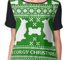 Christmas sweater - corgi christmas green Chiffon Top