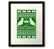 Christmas sweater - corgi christmas green Framed Print