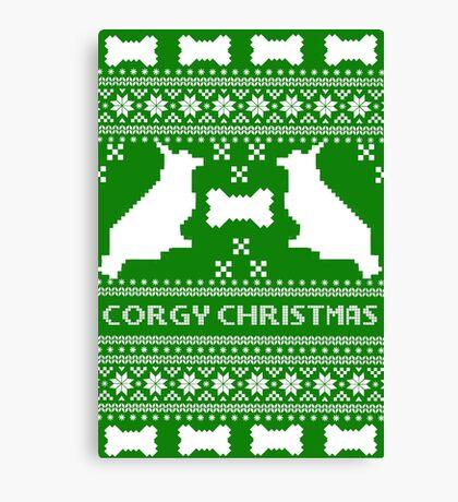 Christmas sweater - corgi christmas green Canvas Print