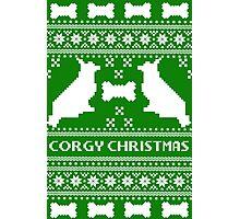 Christmas sweater - corgi christmas green Photographic Print