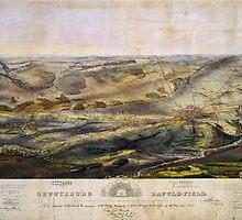 Vintage Map of The Gettysburg Battlefield (1863)  by BravuraMedia