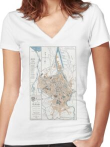 Vintage Map of Ghent Belgium (1905) Women's Fitted V-Neck T-Shirt