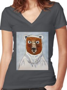 The Age of the Pizzly (or Grolar Bear) Women's Fitted V-Neck T-Shirt