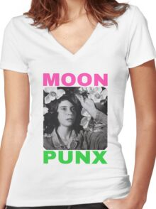 MOON PUNX Women's Fitted V-Neck T-Shirt