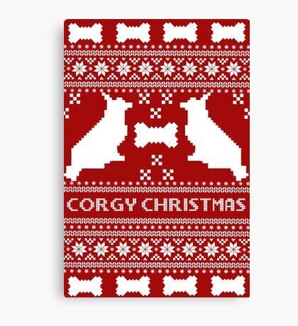 Corgi Christmas sweater  Canvas Print