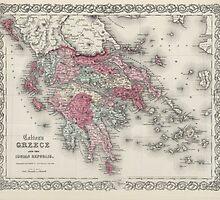 Vintage Map of Greece (1865)  by BravuraMedia