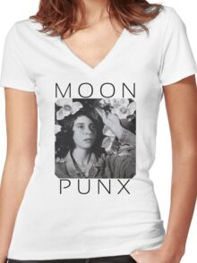 Cat Power Moon Punx Women's Fitted V-Neck T-Shirt