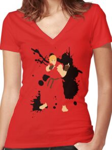 Ken Masters Women's Fitted V-Neck T-Shirt
