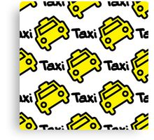 Seamless pattern yellow taxi Canvas Print