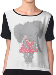 Cute elephant girl Chiffon Top