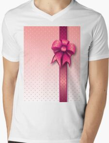 Pink Present Bow Mens V-Neck T-Shirt