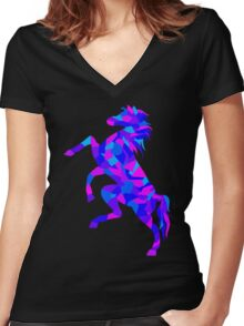 Colorful Geometric Horse Women's Fitted V-Neck T-Shirt