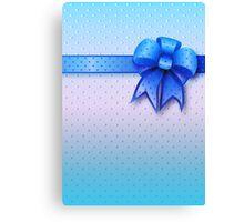 Blue Present Bow Canvas Print