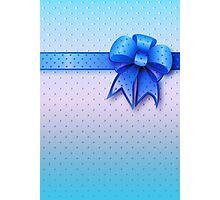 Blue Present Bow Photographic Print