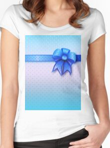 Blue Present Bow Women's Fitted Scoop T-Shirt