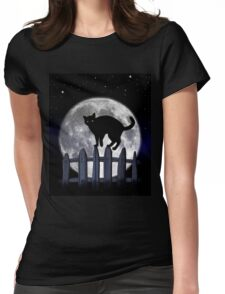 spooky black cat Womens Fitted T-Shirt