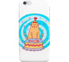 Birthday cat with a cake. iPhone Case/Skin