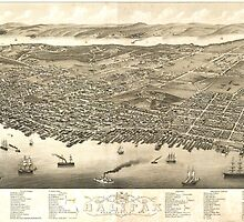 Vintage Pictorial Map of Halifax (1879) by BravuraMedia