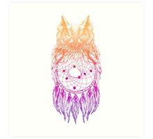 Dreamy Owl_Multi Pink Art Print