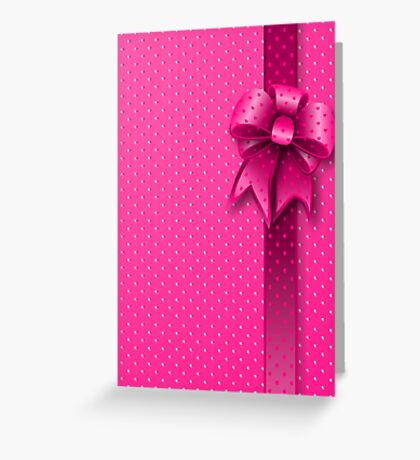 Pink Present Bow Greeting Card