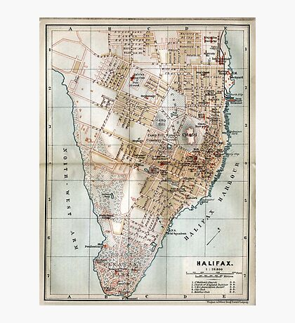 Vintage Map of Halifax Nova Scotia (1890)  Photographic Print