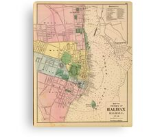 Vintage Map of Halifax Nova Scotia (1878) Canvas Print